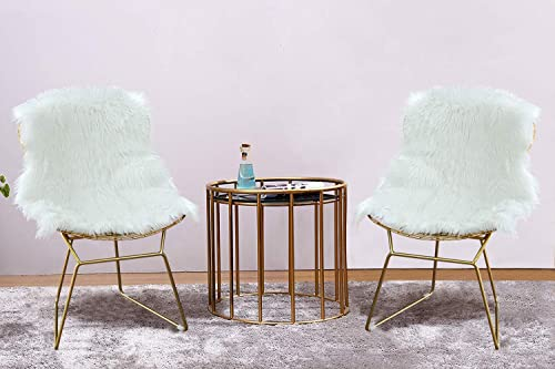HOMEFUN Modern Dining Gold Wire Side Chair, Guest Reception Chair Set of 2 , with Plush Chair Cushion