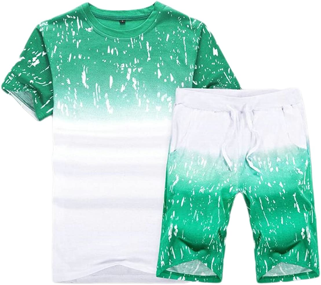 M/&S/&W Mens Round Neck Short Sleeve Printing Top 2PC Set High Waisted Shorts