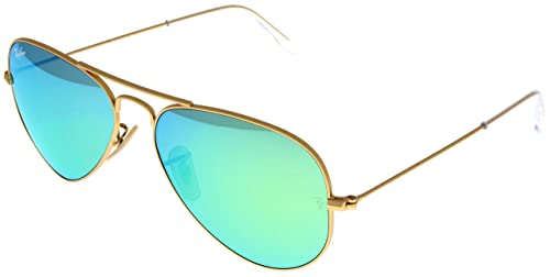 97a64a1879b1 Image Unavailable. Image not available for. Color: Ray Ban Sunglasses  Aviator Gold/ Green Mirrored Lens Unisex RB3025 112/19