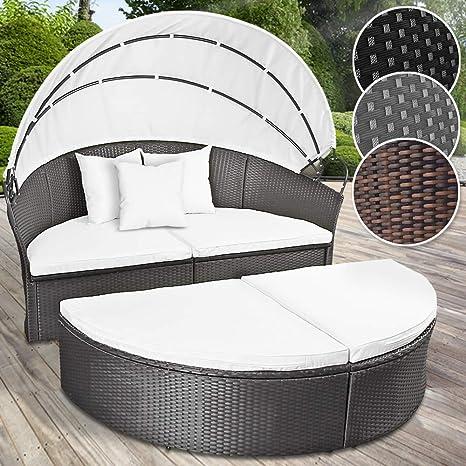 MIADOMODO Conjunto de sillones de Poliratán | 180 cm, con Cojines y Techo, Color a Elegir | Cama de Jardín, Set de Ratán Exterior, Tumbona Sofá, ...