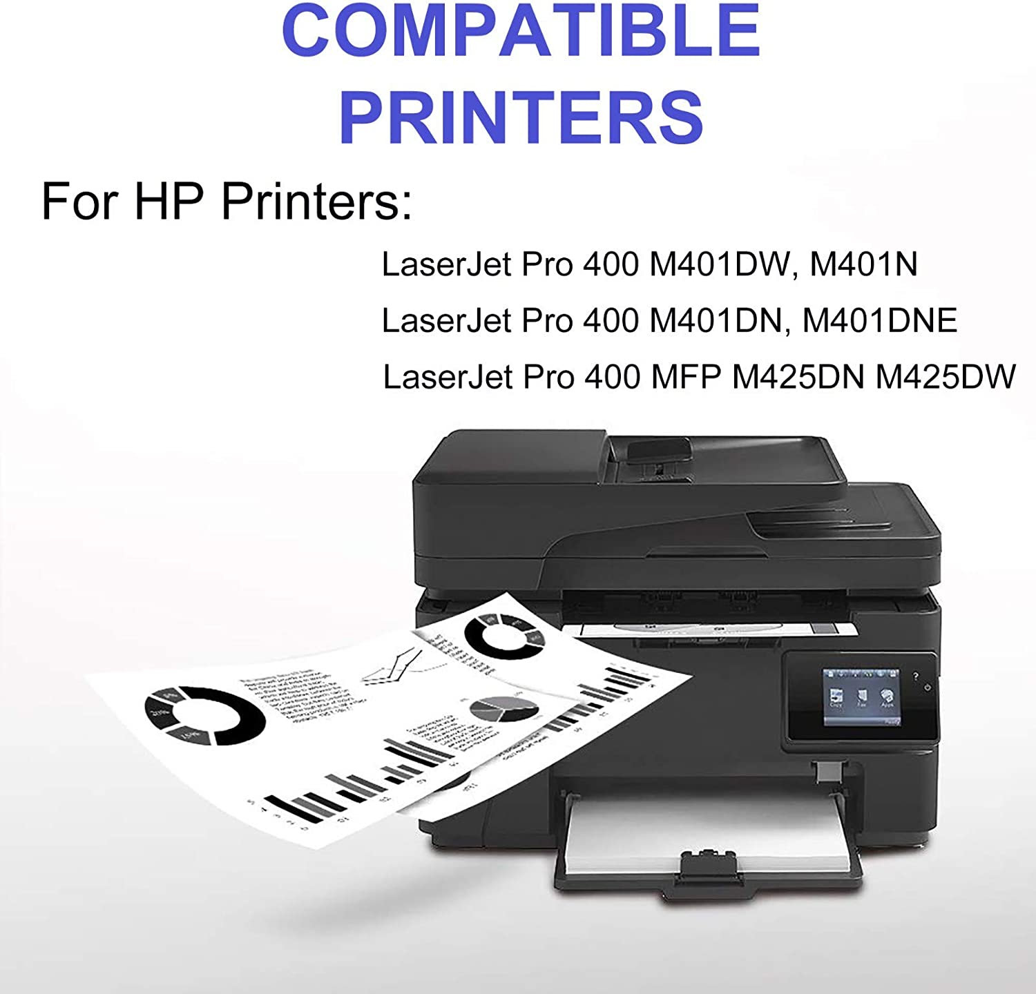 MFP M425DW Printer Cartridge Replacement for HP 80A Compatible High Capacity Laserjet Pro 400 MFP M425DN CF280A 6-Pack Black Toner Cartridge Print True-to-Life Photos