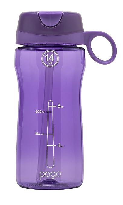 03224da10c Amazon.com : Pogo BPA-Free Plastic Water Bottle with Flip Straw, 14 ...