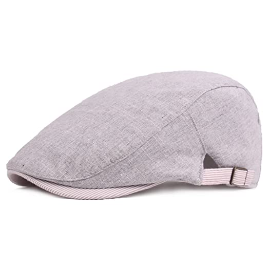 39fe5073 IL Caldo Unisex Spring & Summer newsboy Cap Retro Casual Shading Travel  Linen Cotton Beret Hat, Gray at Amazon Men's Clothing store: