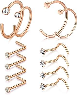Amazon Com D Bella Rose Gold Nose Ring 20g 12pcs 8mm 10mm Nose