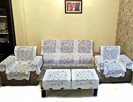 Buy Shc Rose Petal Polyester Net Sofa Slipcover Set With 6 Arms
