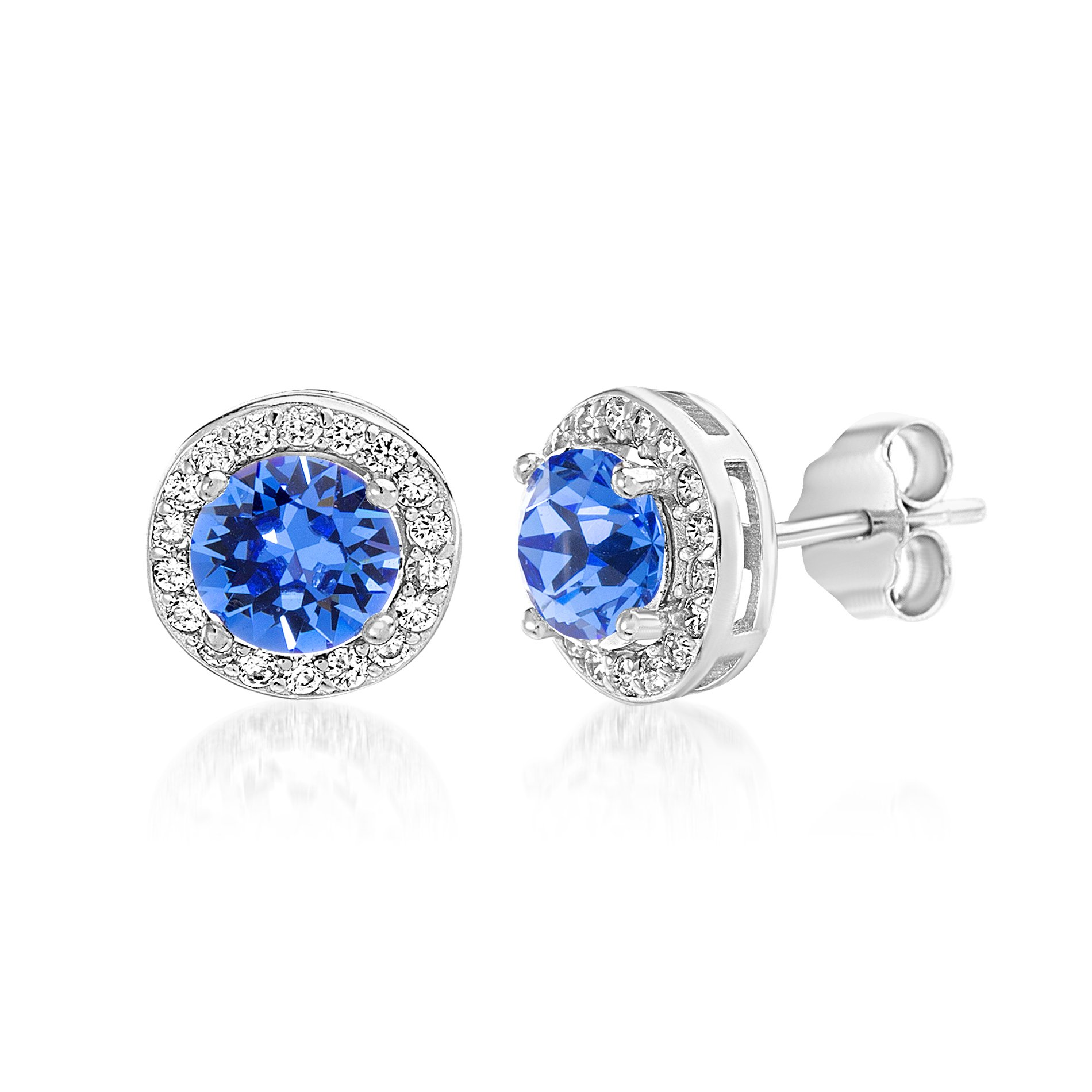 Devin Rose Women's Round Halo Stud Gift Earrings Made With Swarovski Crystals in Sterling Silver (Sapphire Crystal Imitation September Birthstone)