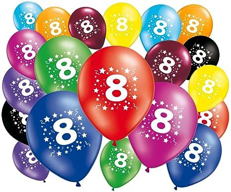 Lote de 20 globos cumpleaños 8 años – 30 cm – globos 8 años