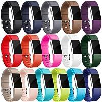 """HUMENN Für Fitbit Charge 2 Armband, Zwei-Farben Weich Silikon Ersatzarmband Smartwatch Sport Band für Fitbit Charge 2 Herzfrequenz Fitnessaufzeichnung (5.5""""-8.1"""")"""