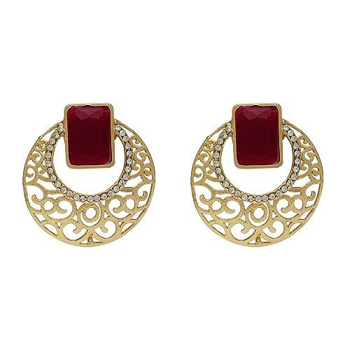 0f7b7ae27 Stylepotion Kashmiri Victorian Fusion Stylish Filigree Gold Plated Ruby Red  Crystal Stone American Diamond Alloy Ethnic