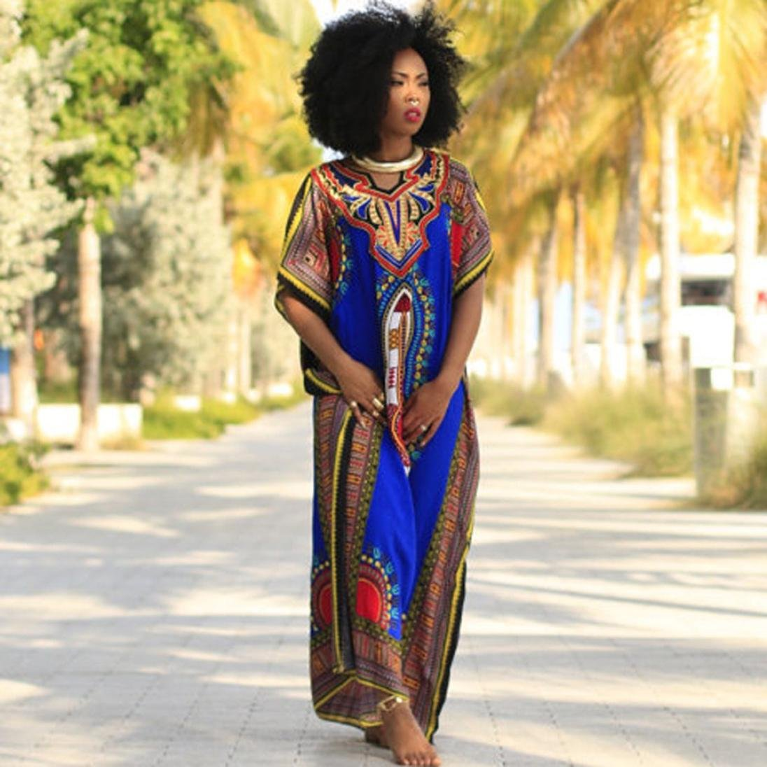 Misaky Women Dress, African Print Casual Straight Print Kaftan Dress at Amazon Womens Clothing store: