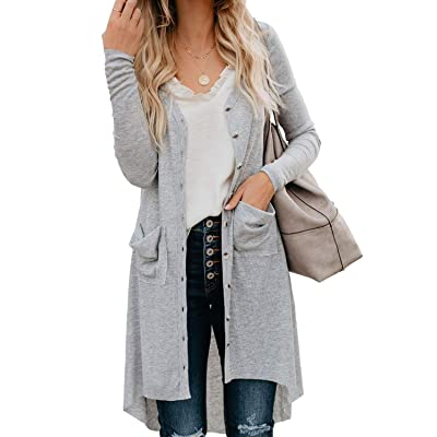 EIFFTER Womens Snap Button Down Pocketed Open Front Long Knit Ribbed Cardigans Outerwear at Women's Clothing store