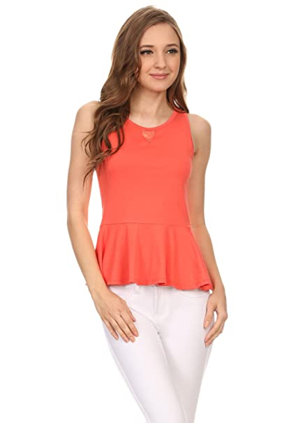 56b48ed197cebb Simlu Peplum Tops For Women Sleeveless Cotton Round Neck Fitted Slim Peplum  Top Bright Orange Small