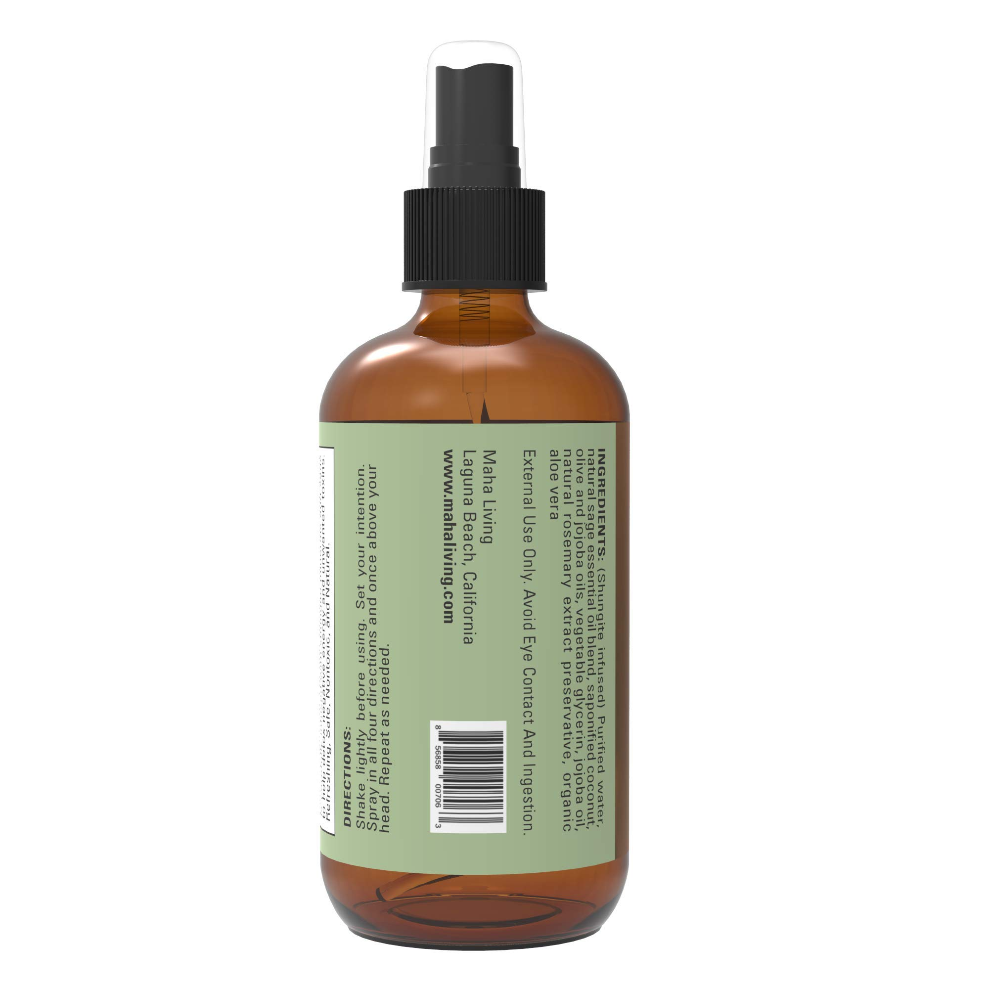 Sage Spray - Natural Essential Oil Spray for Cleansing Your Home, Office, or Linens - Crystal Infused to Help Purify And Restore - Perfect as an Air Freshener, Pillow Spray, or Aromatic Mist (4 oz) by Maha Living (Image #2)