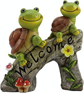 Garden Statue Turtles Figurine Cute Frog Face Turtles Animal Sculpture with Solar LED Lights for Indoor Outdoor Winter Decorations Patio Yard Lawn Ornaments Gift Turtle Garden Decor Animal Statue