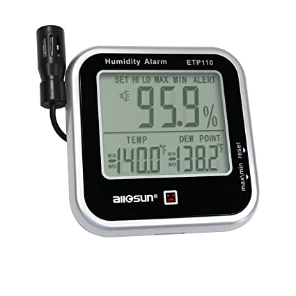 ALLOSUN Digital Thermo-Hygrometer with Humidity Alarm & Remote Probe/Humidity Monitor/Dew-Point Meter