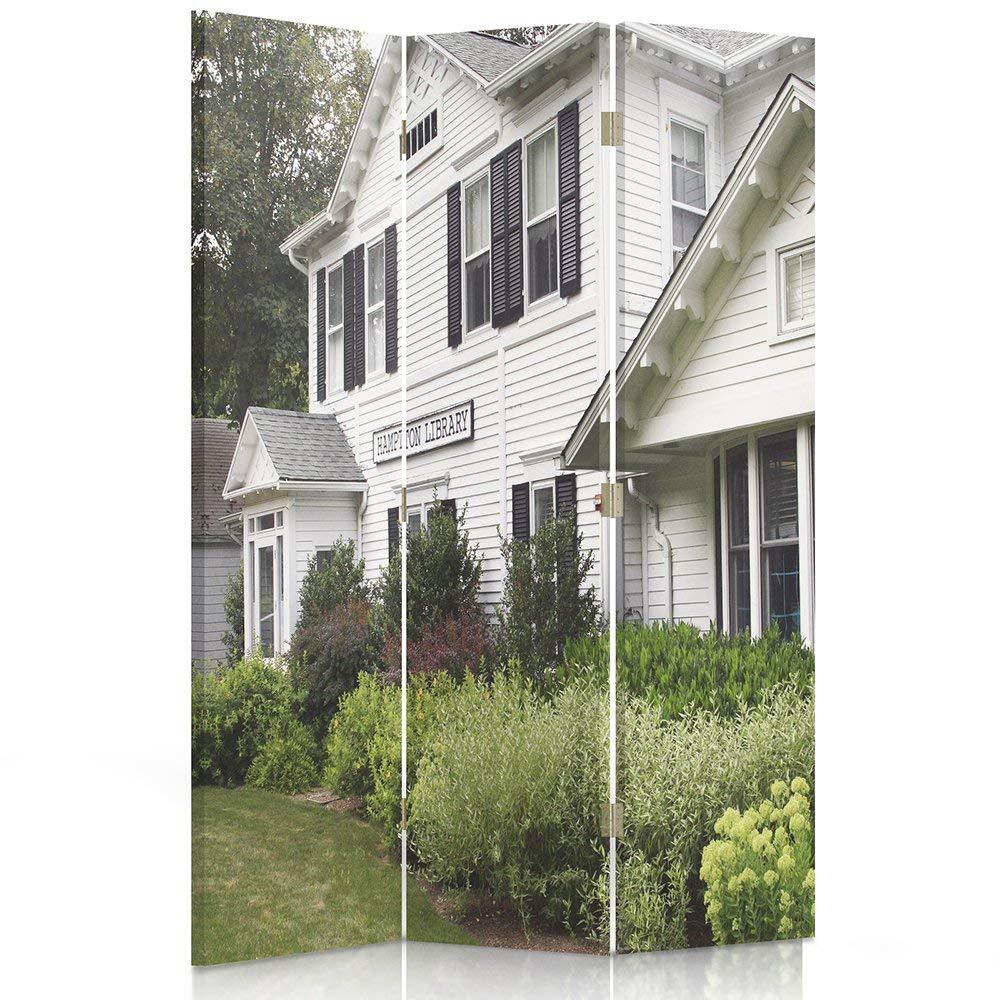 3 teilig Weiss Vintage Architektur Ggedruckten auf/Canvas dekorative Trennwand Feeby Frames 110x150 cm Leinwand Wandschirme Hampton Villa Paravent einseitig Raumteiler