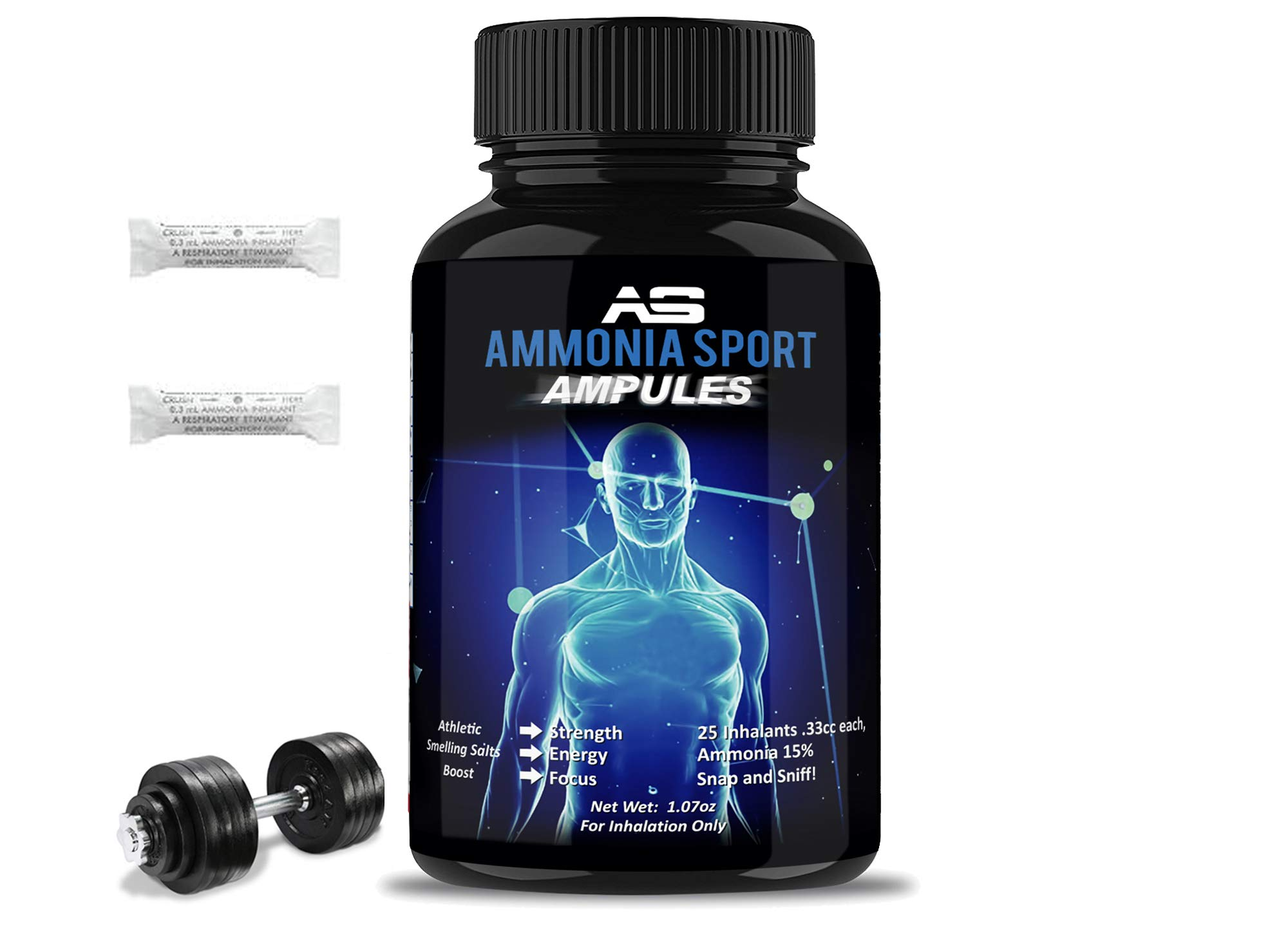 AmmoniaSport: Athletic Smelling Salts - Ampules (25) - Energy Booster - Instant Focus - Preworkout - Intraworkout - Ammonia Inhalant - Smelling Salt - Treat & Prevent Fainting - Nausea Supplement by AmmoniaSport