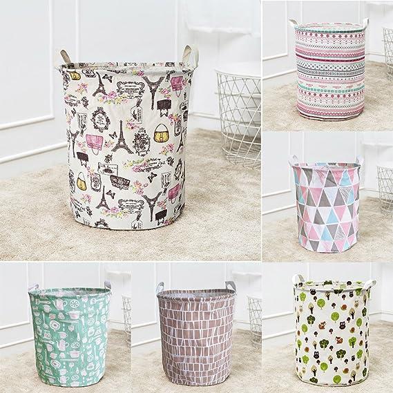 Cesta de lavandería redonda, Lona impermeable sábanas ropa de lavandería cesta de almacenamiento cesta plegable caja de almacenamiento LMMVP (B, ...