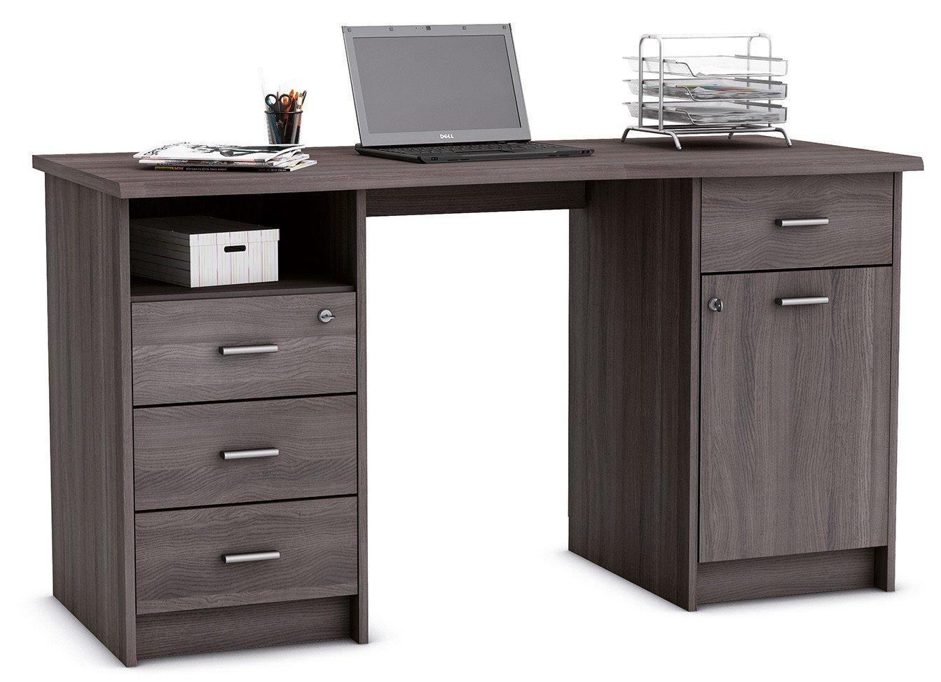 Schreibtisch eiche grau PC Computertisch Kinderschreibtisch Jugendschreibtisch Bürotisch Arbeitstisch Schülerschreibtisch Jugendzimmer