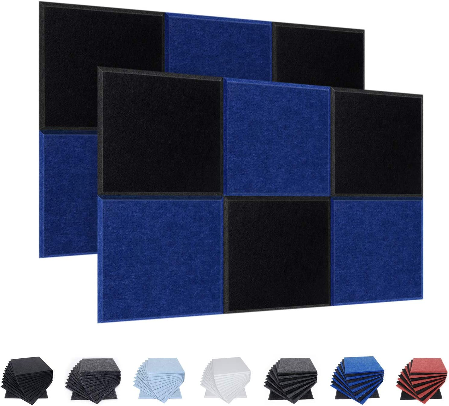 12 Pack Acoustic Panels, 12 X 12 X 0.4 Inches Studio Foam Sound Proof Padding, High Density Beveled Edge Soundproofing Insulation Absorption Panel, Acoustic Treatment for Home Office (Black & Blue)