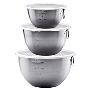 Tovolo Tight Seal, Stainless Steel Mixing Bowls with Lids - Set of 3