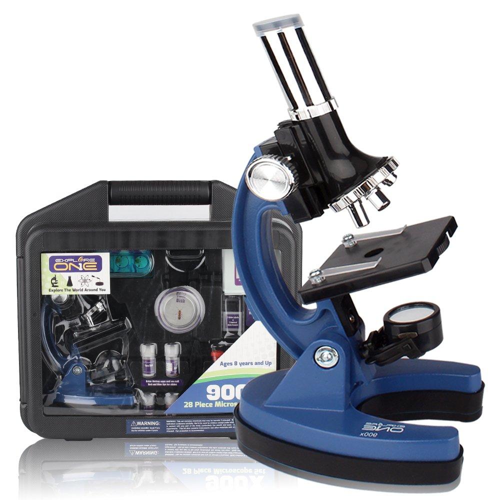 ExploreOne Educational MicroscopeKitforKidsand Beginners withMetalArmandRubberBase,100x, 400x, 900xMagnifications,Includes46+PcsAccessorySetandHandyStorageCase, as Students Gift