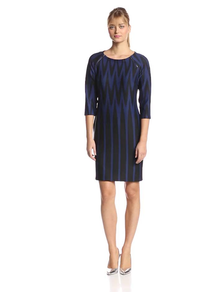 Julian Taylor Women's Elbow Sleeve Zig Zag Printed Dress, Ink/Black, 12