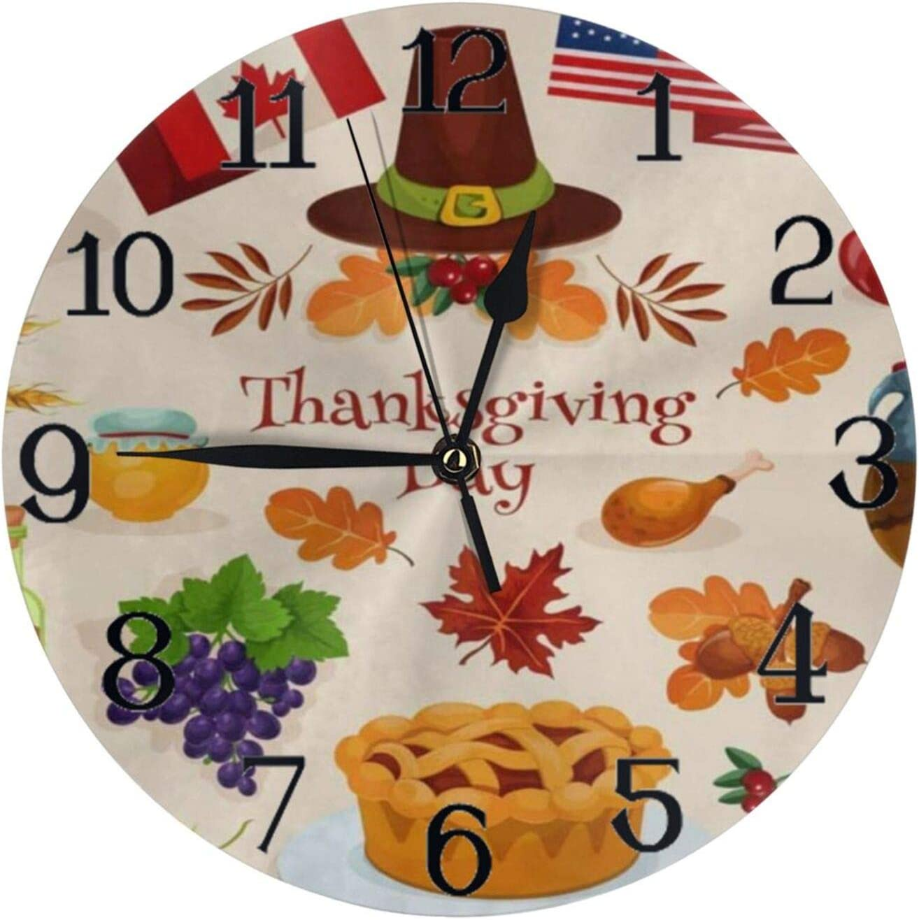 Wall Clock Large Thanksgiving Turkey Pilgrim Hat Pumpkin Apple Pie Cornucopia Non Ticking Kitchen Bedroom Bathroom Wall Clocks Battery Operated Silent Outdoor Desk Cute Clock Living Room Decor for Kid