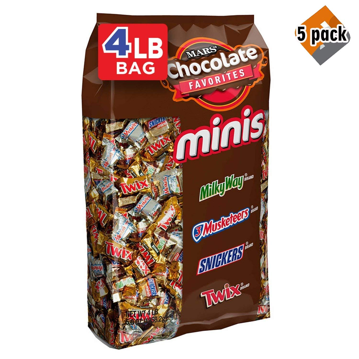 SNICKERS, TWIX, 3 MUSKETEERS & MILKY WAY Minis Size Easter Candy Variety Mix, 240 Pieces, 5 Pack
