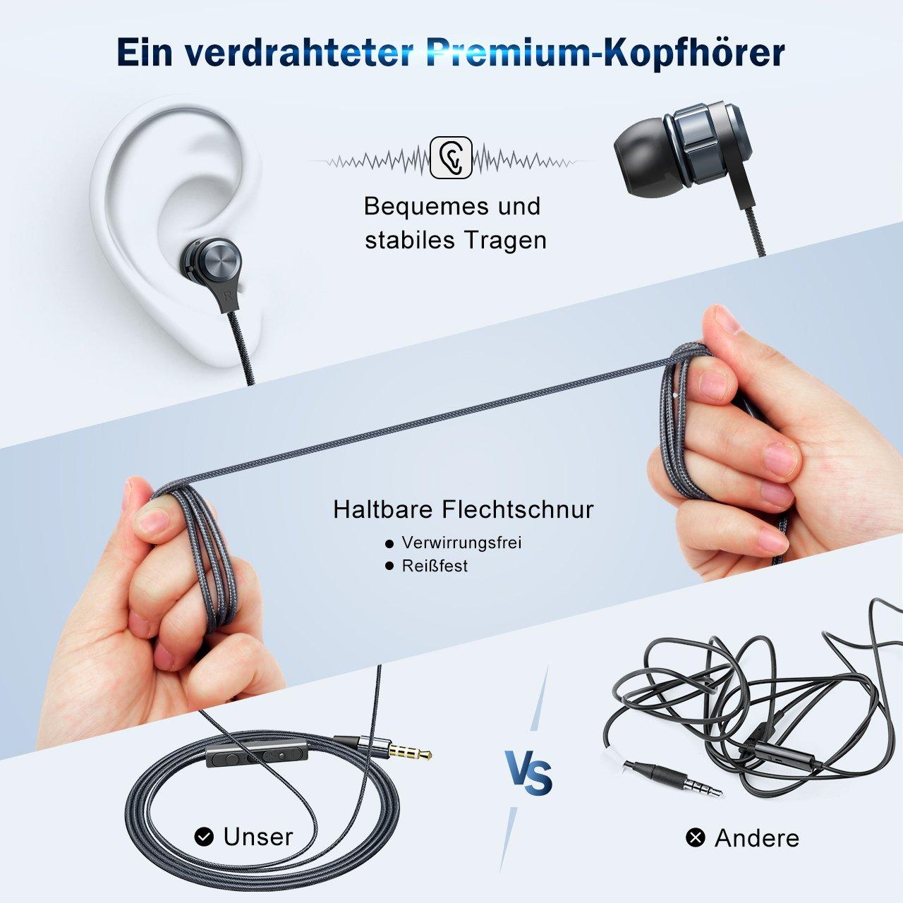 Mpow In-Ear Kopfhörer, kabelgebundener Kopfhörer, beeindruckende ...