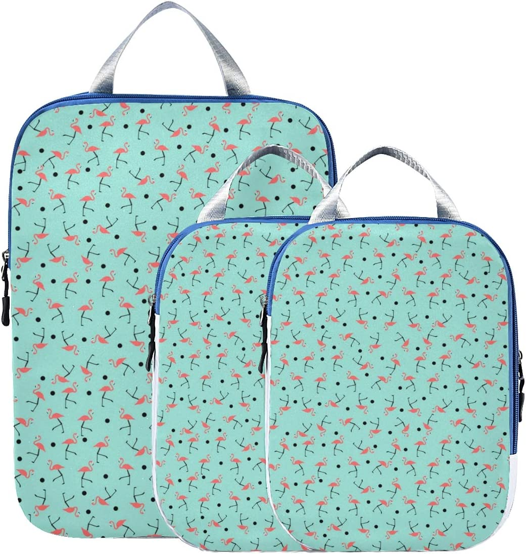 o Flamingo 3 Set Packing Cubes,2 Various Sizes Travel Luggage Packing Organizers