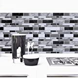 Black and White Peel and Stick Wallpaper for Kitchen,11.8inch x 196.8inch Kitchen Wallpaper Bathroom Self Adhesive Wall Paper