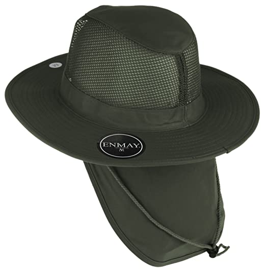 ae986c4e Enimay Outdoor Hiking Fishing Snap Brim Hat with Neck Flap 1 3652 Green  Large