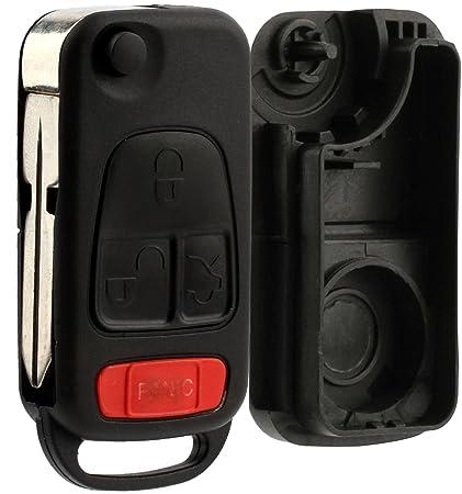 KeylessOption Keyless Remote Car Flip Key Fob Uncut Blade Shell Case Button  Repair Fix for Mercedes
