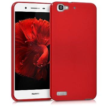 kwmobile Funda para Huawei GR3 / P8 Lite Smart - Carcasa para móvil en TPU Silicona - Protector Trasero en Rojo Mate