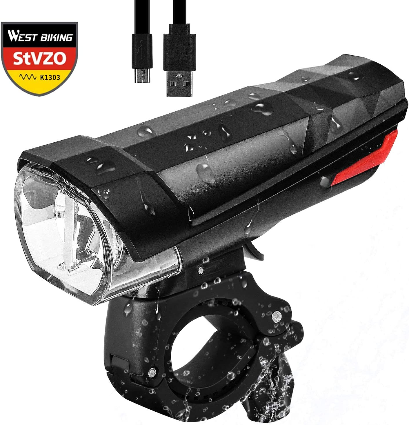 Jiaji USB-Fahrradscheinwerfer Ultrahelles Wiederaufladbares Fahrrad-Frontlicht Wasserdichtes Fahrradlicht f/ür Mountainbikes