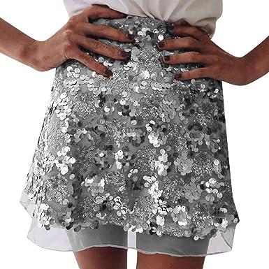 QinMMROPA Mini Falda de Lentejuelas para Mujer, Falda Corta Sexy ...