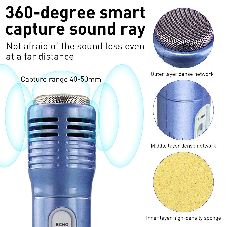 Multi-fonction bluetooth Karaok/é Microphone avec 2 Haut-Parleur pour PC Android Smartphone Ordinateur portable iPad iPhone Microphone Karaoke Sans Fil pour enfants