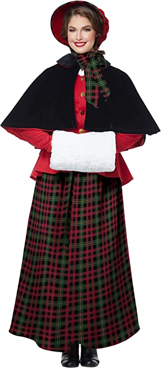 Victorian Costumes: Dresses, Saloon Girls, Southern Belle, Witch California Costumes Holiday Caroler Woman Costume $61.88 AT vintagedancer.com