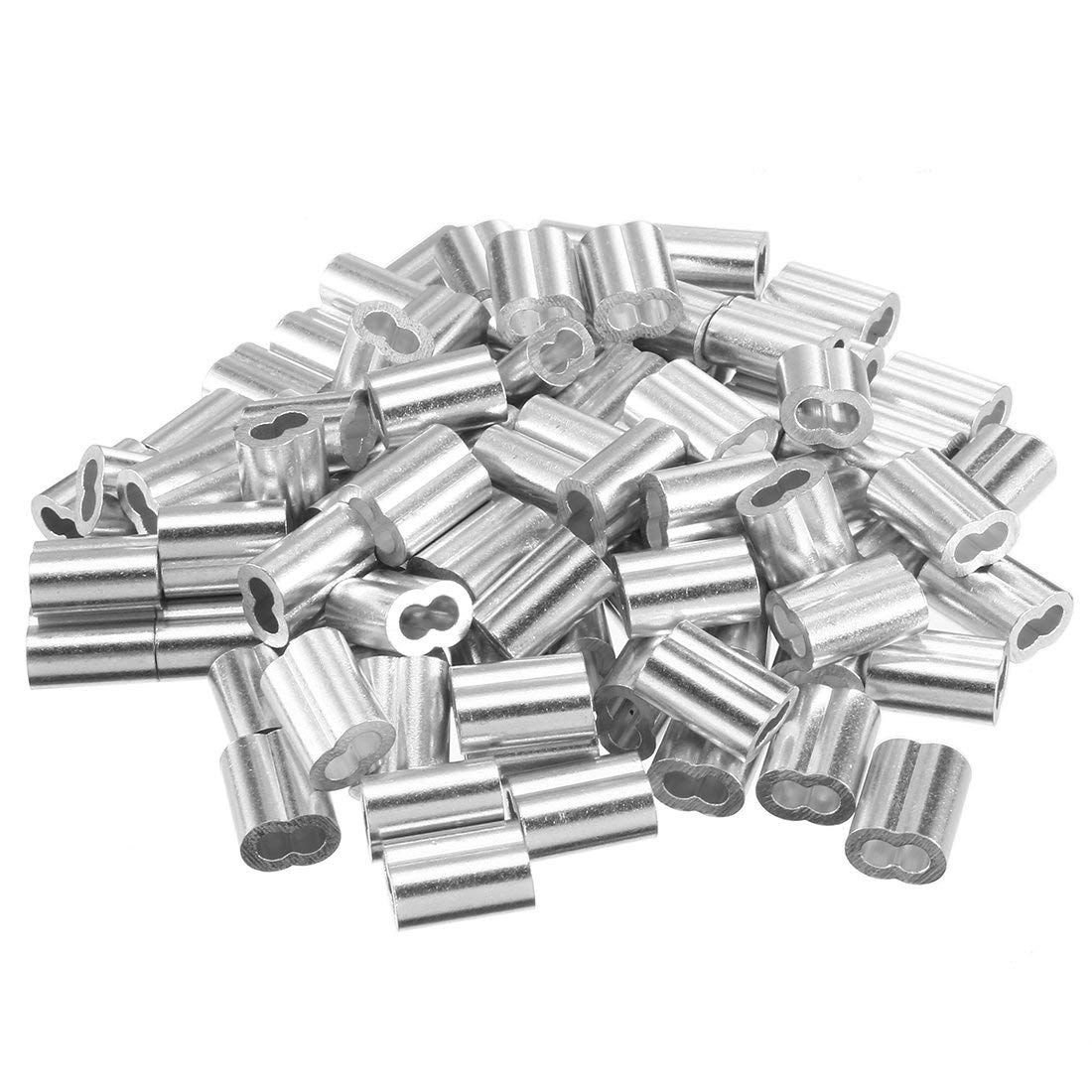 TOOGOO 5/64 inch (2mm) Diameter Wire Rope Aluminum Sleeves Clip Fittings Cable Crimps 100pcs