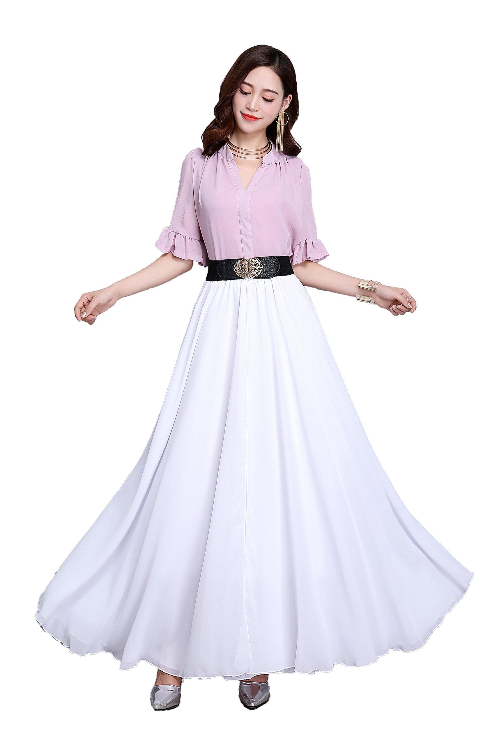 Sissily Women Summer Chiffon High Waist Pleated Big Hem Full/Ankle Length Beach Maxi Skirt(Large/White)