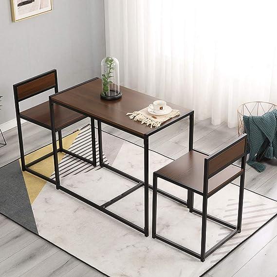 Cikonielf con 4 sedie Tavolo da pranzo e sedia colore: Bianco in legno