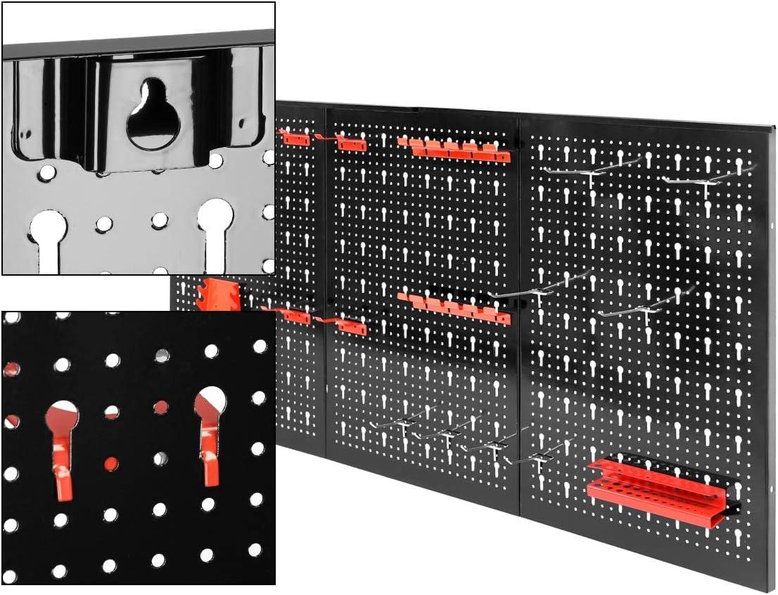 Porte-outils ECD Germany Panneau perfor/é en trois parties Paroi perfor/é pour outils 120 x 60 x 2,1 cm en m/étal avec 17 pi/èces Assortiment de crochets