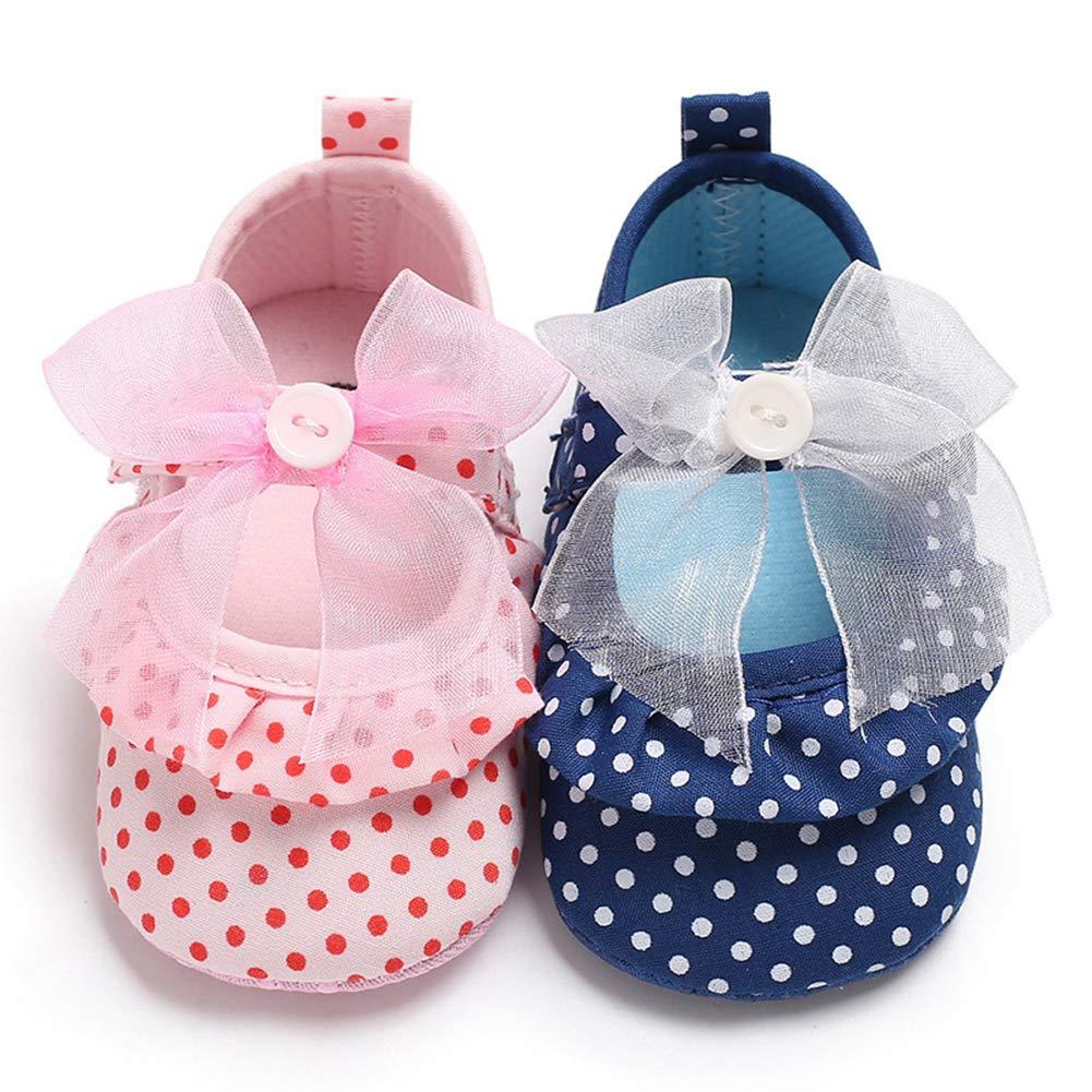 6-8M Blue 12 Alamana Lovely Bowknot Dot Baby Girls Anti-Slip Soft Princess Prewalker Toddler Shoes