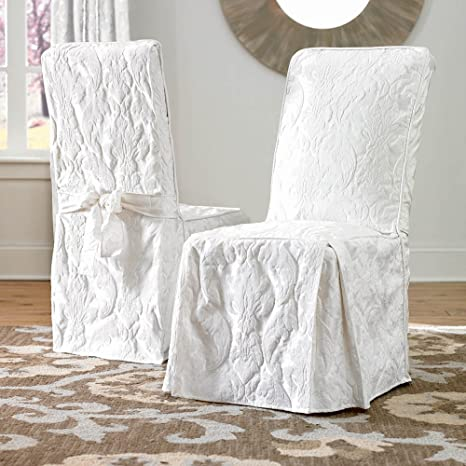 Superb Sure Fit Matelasse Damask Dining Room Chair Cover White Download Free Architecture Designs Madebymaigaardcom