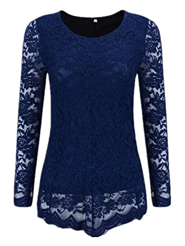 Kerlana Mujeres Blusas De Encaje Flores Lace Crochet Elegantes Camisas Camisetas Slim Manga Larga In...