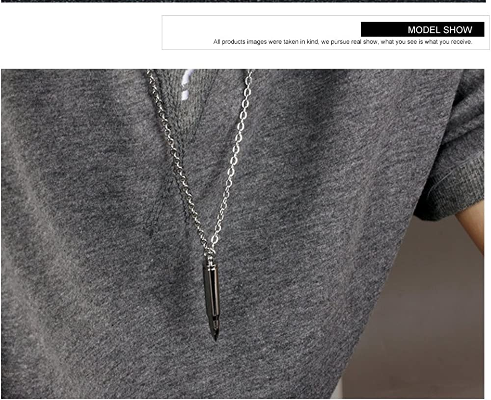 Mens Stainless Steel Bullet Cremation Urn Necklace for Ashes Keepsake Punk Jewelry Silver Black Gold