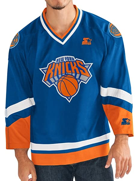 8eaf049a8 Amazon.com   STARTER York Knicks NBA Men s Crossover Hockey Jersey ...