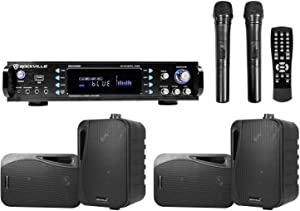 """Rockville Hybrid Bluetooth Karaoke Home Theater System and (4) 4"""" Speakers+(2) Mics"""