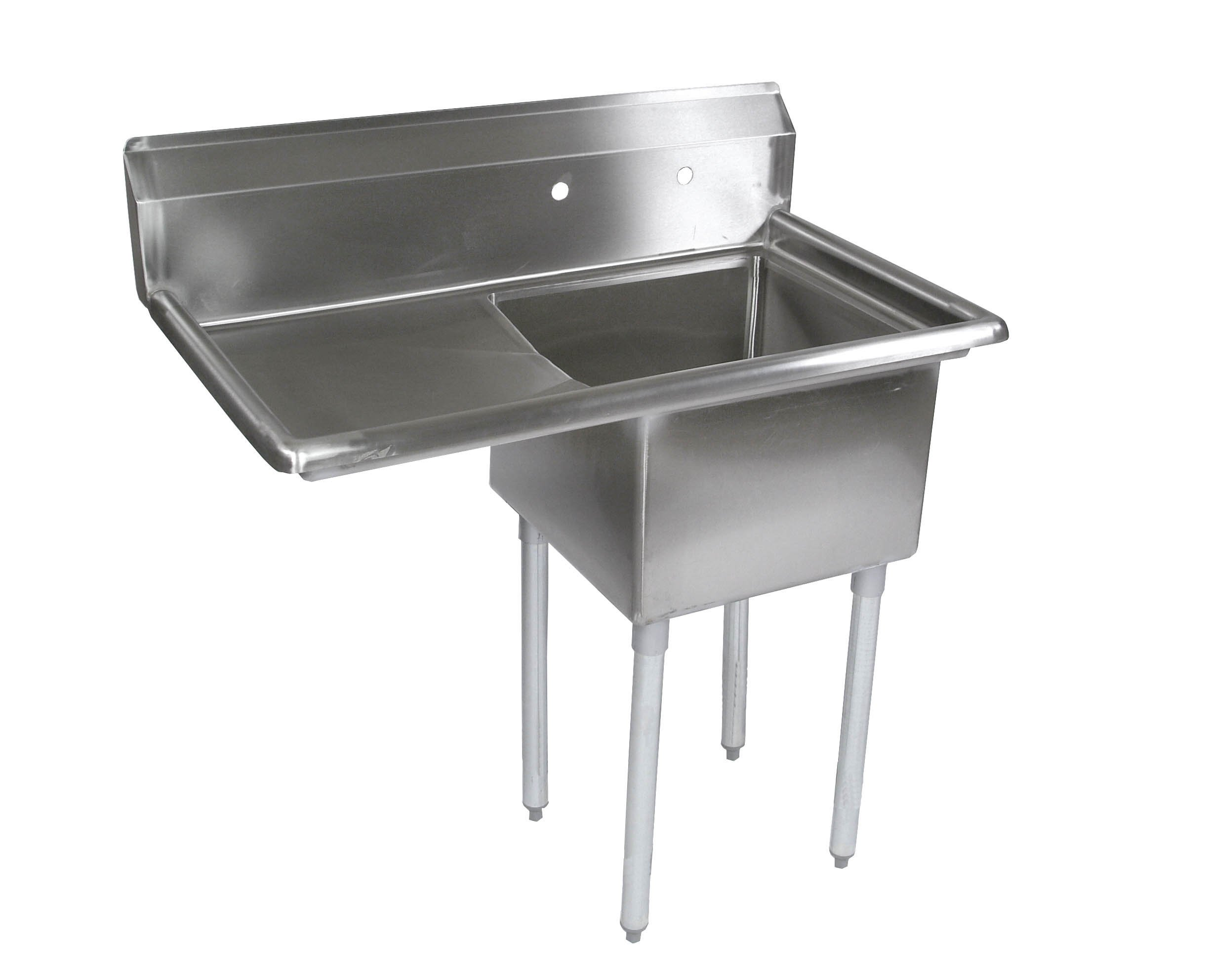 John Boos E Series Stainless Steel Sink, 12'' Deep Bowl, 1 Compartment, 18'' Left Hand Side Drainboard, 36-1/2'' Length x 25-1/2'' Width